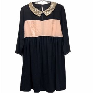 Momo Maternity Holiday Sequin Collar Shift Dress